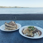 breakfast on the beach with an audience -- french toast + loco mock