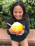 the biggest shaved ice ever= very happy susel (again!)- this was had haupia (coconut pudding ice cream) on the bottom, with coconut passion fruit and mango shaved ice, topped with mochi-- yummmmm
